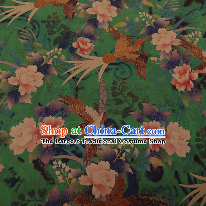 Chinese Traditional Cheongsam Silk Fabric Palace Phoenix Peony Pattern Green Satin Plain Gambiered Guangdong Gauze