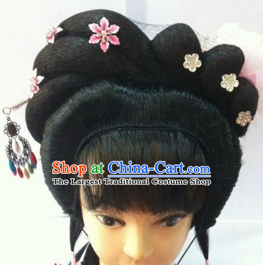 Chinese Traditional Beijing Opera Diva Hair Accessories Ancient Princess Wigs Sheath and Hairpins for Women