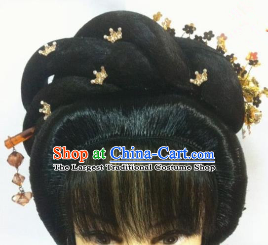 Chinese Traditional Beijing Opera Actress Hair Accessories Ancient Princess Wigs Sheath and Hairpins for Women