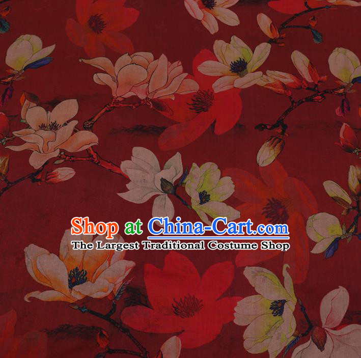 Chinese Classical Red Satin Plain Traditional Yulan Magnolia Pattern Cheongsam Drapery Silk Fabric Gambiered Guangdong Gauze