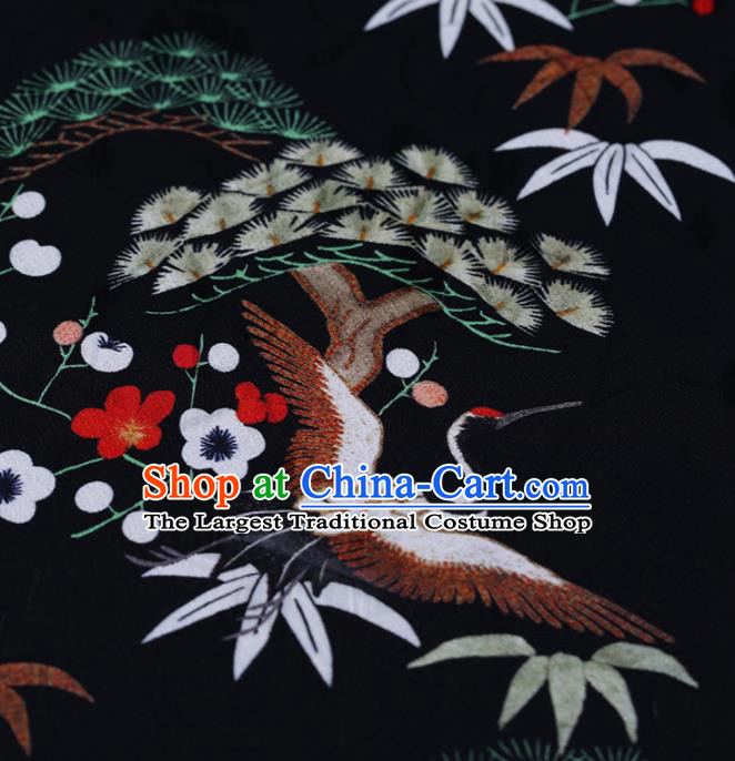 Chinese Classical Black Silk Fabric Traditional Cranes Pine Pattern Satin Plain Cheongsam Drapery Gambiered Guangdong Gauze