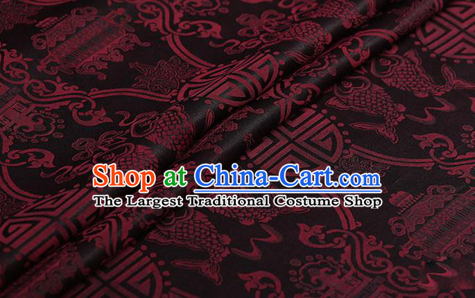 Chinese Classical Silk Fabric Traditional Red Fishes Pattern Satin Plain Cheongsam Drapery Gambiered Guangdong Gauze