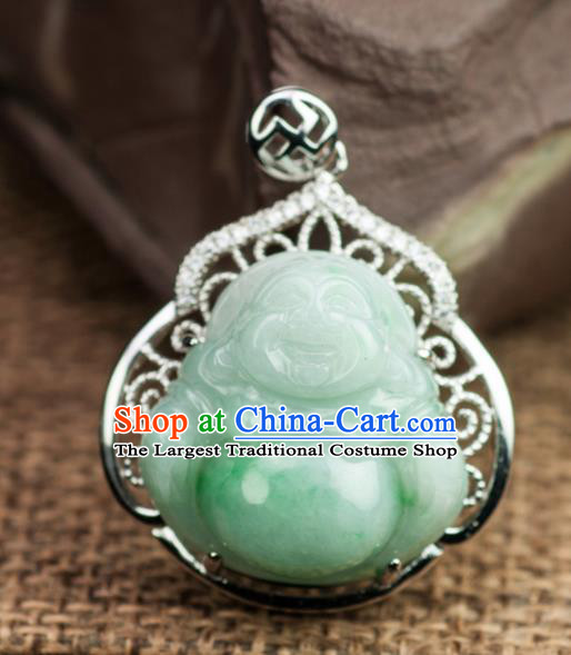 Chinese Traditional Jewelry Accessories Ancient Jade Maitreya Buddha Necklace Jadeite Pendant