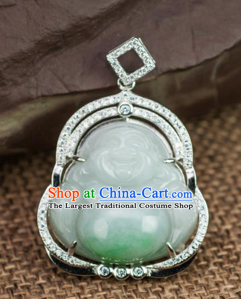 Chinese Traditional Jewelry Accessories Jadeite Pendant Ancient Jade Maitreya Buddha Necklace
