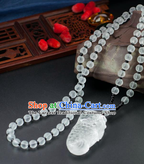 Chinese Traditional Jewelry Accessories Jade Fish Necklace Handmade Jadeite Pendant