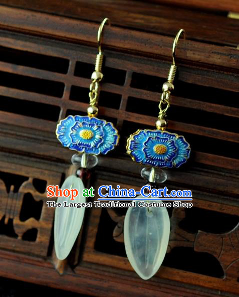 Chinese Traditional Blueing Jewelry Accessories Ancient Hanfu Earrings for Women