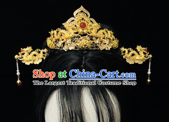 Chinese Classical Hair Accessories Traditional Ancient Hanfu Golden Hair Coronet Hairpins Complete Set for Women