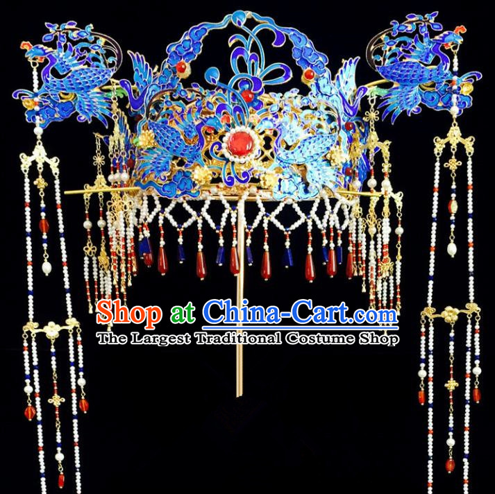 Chinese Classical Hairpins Wedding Hair Accessories Traditional Ancient Queen Blueing Phoenix Coronet for Women