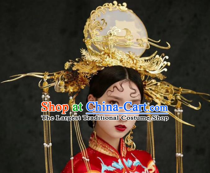 Chinese Traditional Palace Queen Phoenix Coronet Ancient Bride Wedding Hair Accessories Hairpins for Women