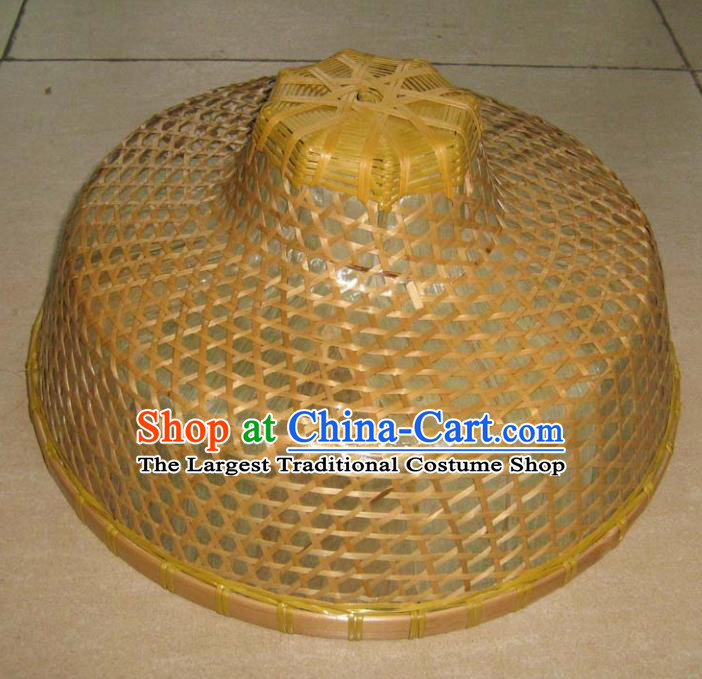 Chinese Traditional Straw Hat Handmade Craft Asian Fishing Bamboo Hat
