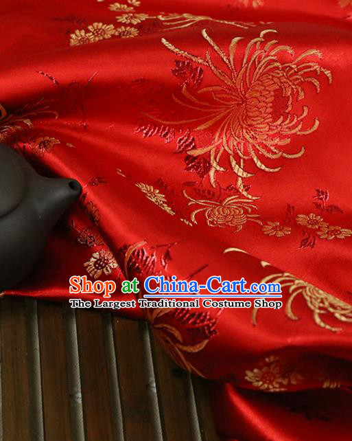 Red Brocade Chinese Traditional Silk Fabric Material Classical Chrysanthemum Pattern Design Satin Drapery