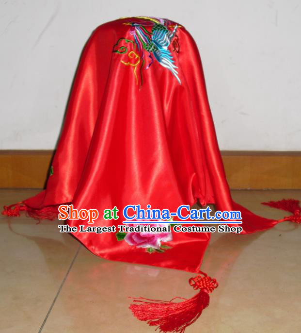 Chinese Traditional Bride Headdress Ancient Wedding Embroidered Phoenix Peony Red Veil Curtain for Women