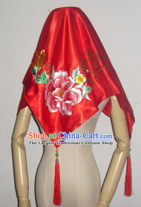 Chinese Traditional Wedding Headdress Ancient Bride Embroidered Peony Red Curtain for Women