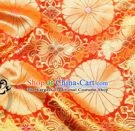 Chinese Traditional Red Brocade Silk Fabric Material Classical Pattern Design Satin Drapery