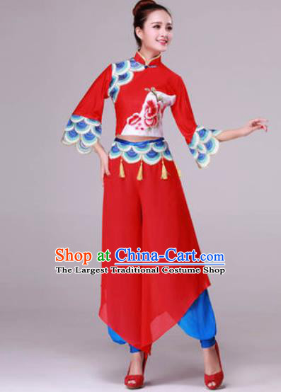 Traditional Chinese Yangko Dance Folk Dance Fan Dance Red Costume for Women