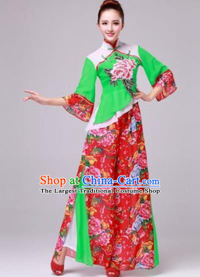Chinese Traditional Yangko Dance Folk Dance Fan Dance Costume for Women