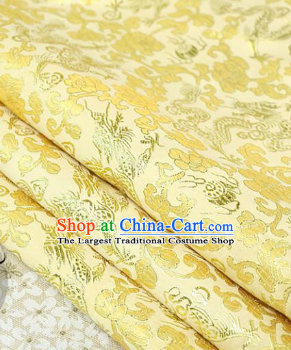 Chinese Traditional Golden Brocade Tang Suit Silk Fabric Material Classical Dragons Pattern Design Satin Drapery