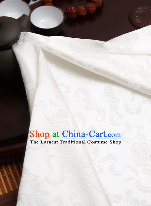 Chinese Traditional Brocade Cheongsam White Silk Fabric Material Classical Pattern Design Satin Drapery