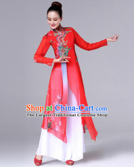 Traditional Chinese Classical Dance Red Dress Stage Performance Folk Dance Costume for Women