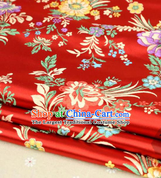 Asian Chinese Traditional Fabric Material Qipao Red Brocade Classical Begonia Pattern Design Satin Drapery