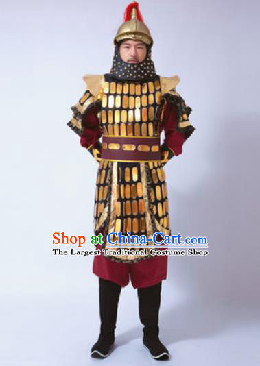 Traditional Chinese Ancient Qing Dynasty General Costumes Helmet and Body Armour for Men