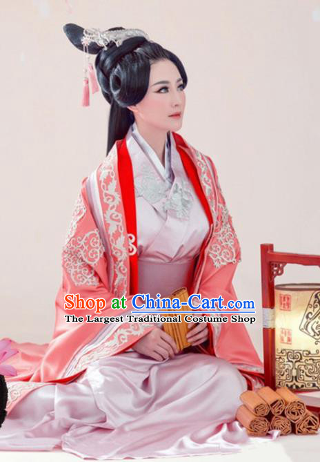 Traditional Chinese Ancient Han Dynasty Imperial Consort Embroidered Costumes and Headpiece for Women