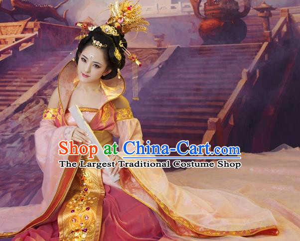 Chinese Ancient Tang Dynasty Imperial Consort Embroidered Costumes and Headpiece Complete Set for Women