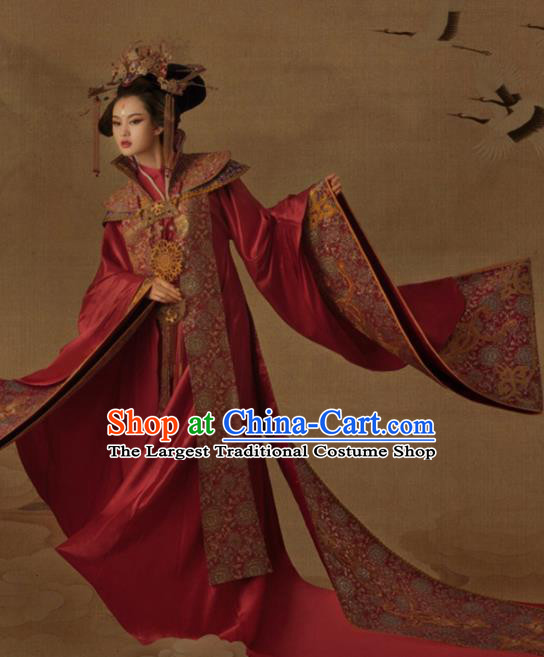 Chinese Ancient Tang Dynasty Palace Wedding Hanfu Dress Traditional Drama Empress Embroidered Costumes for Women