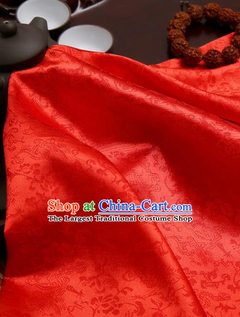 Chinese Traditional Red Brocade Classical Pattern Design Tang Suit Silk Fabric Material Satin Drapery