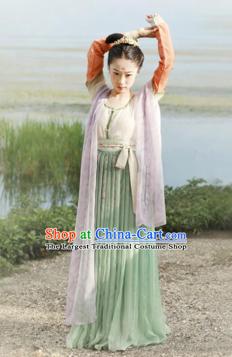 Chinese Tang Dynasty Court Maids Replica Costumes Traditional Ancient Flying Peri Goddess Hanfu Dress for Women
