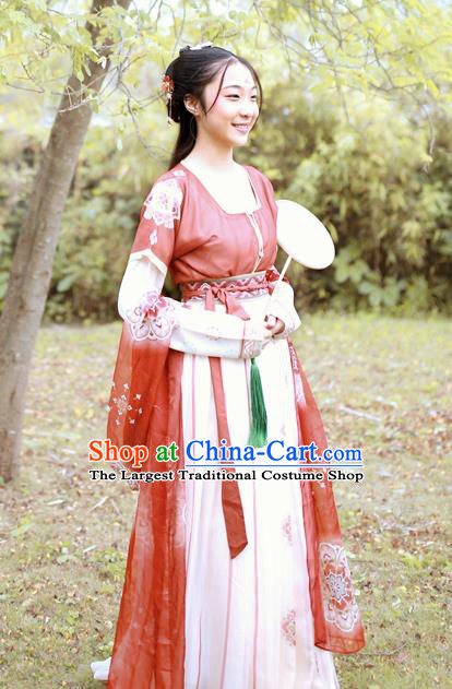 Chinese Tang Dynasty Nobility Lady Replica Costumes Traditional Ancient Peri Goddess Hanfu Dress for Women