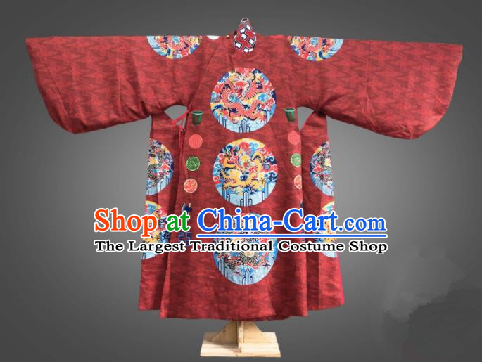 Chinese Traditional Ming Dynasty Emperor Clothing Ancient King Embroidered Red Costumes for Men