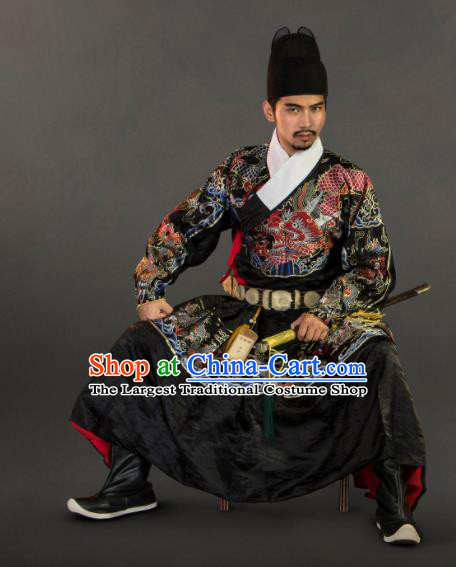 Chinese Traditional Ming Dynasty Swordsman Clothing Ancient Blades Embroidered Black Costumes for Men