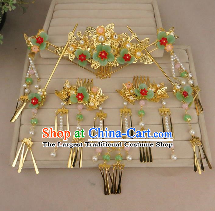 Chinese Traditional Xiuhe Suit Hair Accessories Ancient Wedding Hairpins Complete Set for Women
