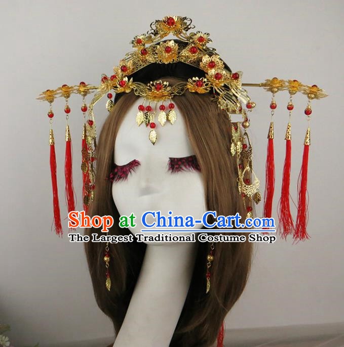 Chinese Traditional Xiuhe Suit Hair Accessories Ancient Wedding Golden Hair Coronet Hairpins for Women