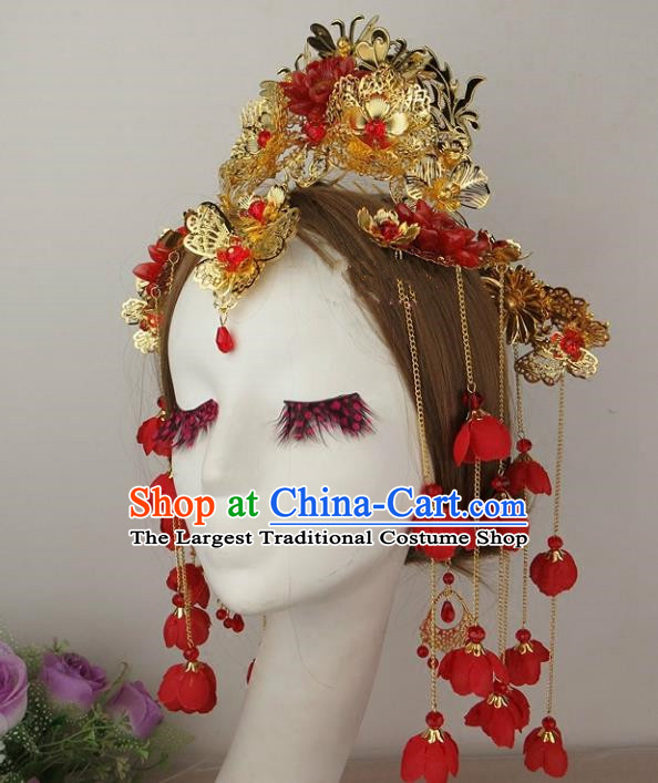 Chinese Traditional Xiuhe Suit Hair Accessories Flowers Tassel Phoenix Coronet Ancient Wedding Hairpins for Women