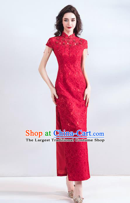 Chinese Traditional Red Cheongsam Wedding Bride Costume Compere Full Dress for Women