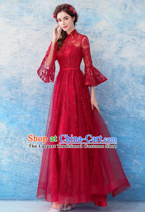 Top Grade Red Lace Evening Dress Compere Costume Handmade Catwalks Angel Full Dress for Women