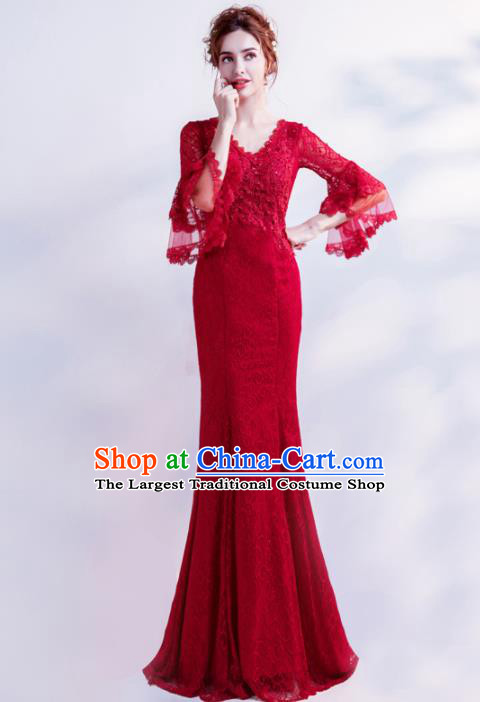 Handmade Red Lace Diamante Evening Dress Compere Costume Catwalks Angel Full Dress for Women