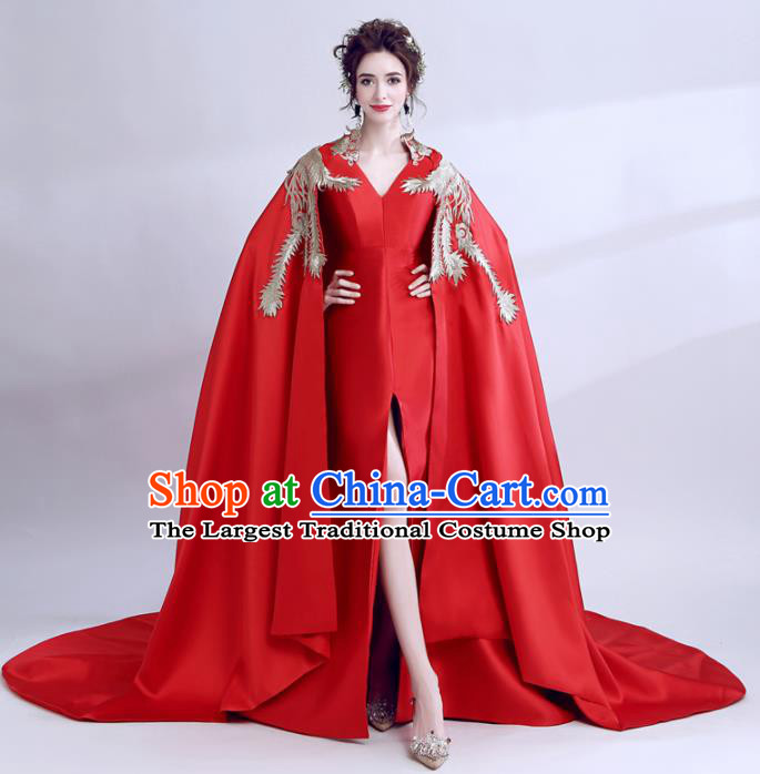 Handmade Red Cloak Evening Dress Compere Costume Catwalks Angel Full Dress for Women