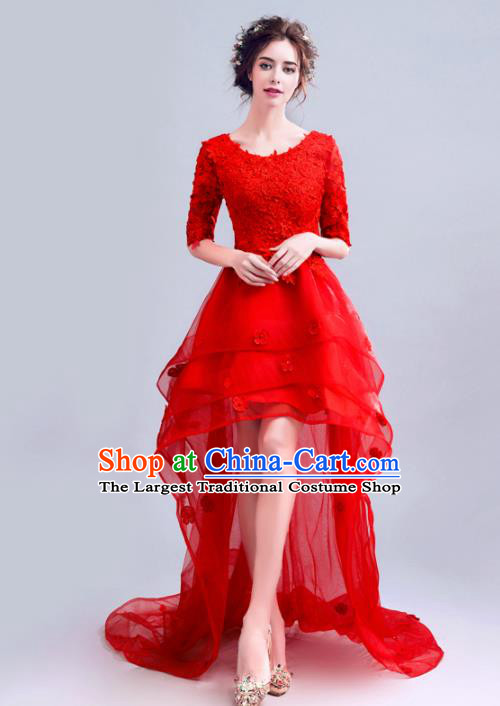 Handmade Red Veil Trailing Evening Dress Compere Costume Catwalks Angel Full Dress for Women