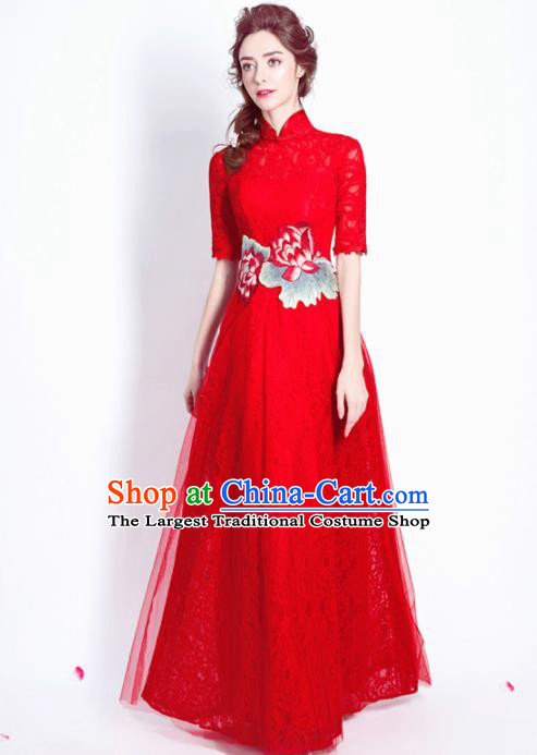 Chinese Traditional Embroidered Peony Red Lace Cheongsam Wedding Bride Compere Tang Suit Full Dress for Women