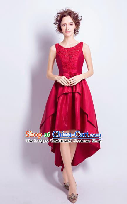 Top Grade Red Short Formal Dress Compere Costume Catwalks Evening Dress for Women