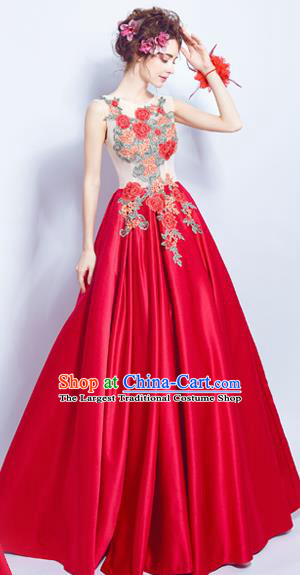 Top Grade Compere Embroidered Red Formal Dress Catwalks Evening Dress for Women