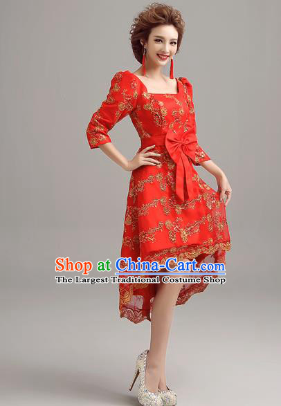 Top Grade Compere Red Lace Short Formal Dress Catwalks Evening Dress for Women