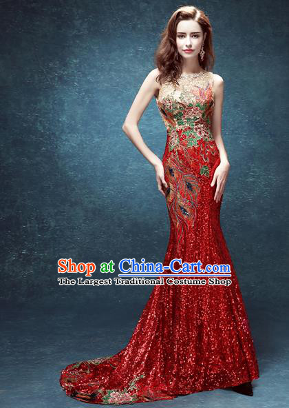 Top Grade Compere Red Mullet Formal Dress Catwalks Evening Dress for Women