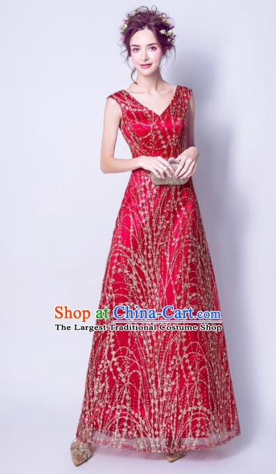 Handmade Red Evening Dress Compere Costume Catwalks Angel Full Dress for Women