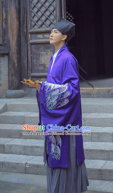 Chinese Ancient Scholar Costumes Ming Dynasty Nobility Childe Embroidered Clothing for Men