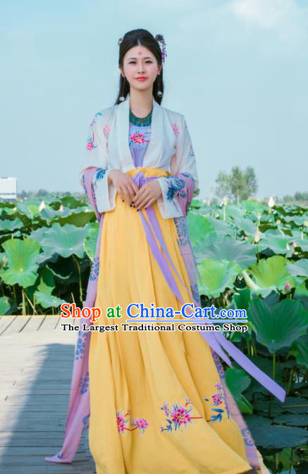 Chinese Traditional Nobility Lady Historical Costumes Ancient Tang Dynasty Yellow Hanfu Dress for Women