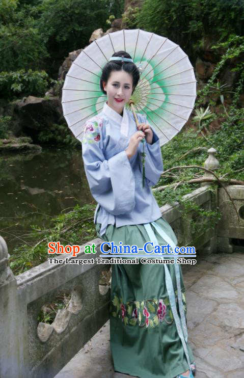 Traditional Chinese Ming Dynasty Nobility Lady Historical Costumes Ancient Countess Embroidered Hanfu Dress for Women
